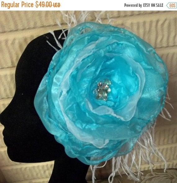 SALE Aqua Blue and Ostrich Feather Fascinator, Wedding Flower Fascinator