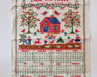 Vintage 1973 Calendar Kitchen or Tea Towel, Bless this House, House Birds Animals, Linen towel, Unused Mint, Retro Kitchen Accessory