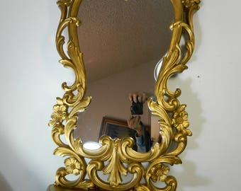 Vintage Large Decorative Mirror with Shelf Syrocco