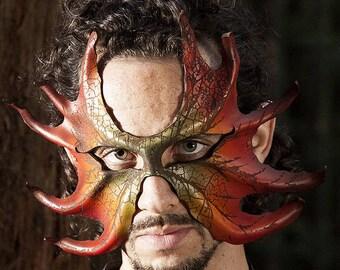 CUSTOM Made to Order |  Magical Leather Leaf Mask | Art Engraved | Green Man | Costume | Oak Man | OSFA | Elven | Tree Spirit | Masquerade