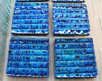 Dichroic Fused Glass Drawer Knobs, Teal Blue Cabinet Knobs, Textured Glass Pulls, Dresser Handles, Kitchen Decor, Vanity Knobs Handles