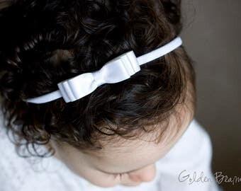 Little White Baby Headband - Flower Girl Headband - Little ELLA White Satin Bow Handmade Headband - Baby to Adult Headband