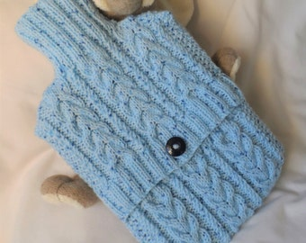 Hand Knitted Pale Blue Cabled Hot Water Bottle Cover/Cozy/Cosy