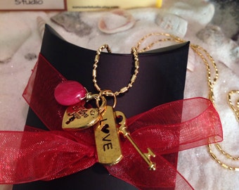 14k Gold Love Charm Necklace Pink Chalcedony