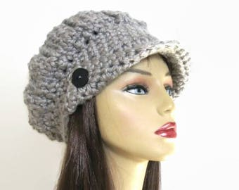Grey Newsboy Hat Adult Gray Knit Newsboy Light Grey Newsboy Crochet Gray Hat with Visor Silver Hat with Visor Gray Slouch News Boy Hat
