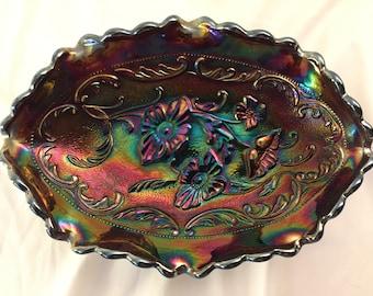 Vintage Beautiful Fenton Amethyst Carnvial Glass Candy Dish. 8x5.5 Inches. Scallop Edges, Poppy Pattern. Hallmark