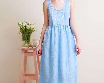 Vintage Inspired Hand Embroidered Linen Night Gown For Woman/ Linen Sleeveles Dress