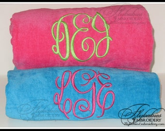 His & Her Personalized Beach Towels ~ Monogrammed Beach Towels ~ Multiple Color Options ~ Bride and Groom Towels ~ Set of 2 Beach Towels