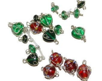Lot of Red and Green Glass Wired Bead links Silver Tone Beads DISCOUNT Craft Supplies Scrapbook Supplies