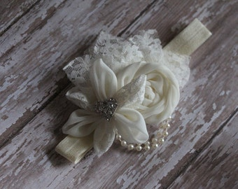 Elegant Ivory headband for baptism, child dedication, wedding or photography