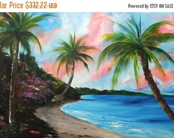 "SALE HUGE Oil Landscape painting Abstract Original Modern Contemporary ""Tropical Dreams"" 48x30 by Nicolette Vaughan Horner"