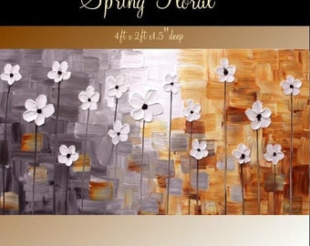 """SALE XL Original Modern 48"""" palette knife signature floral impasto oil painting Grays,whites,rust shades, by Nicolette Vaughan Hor"""
