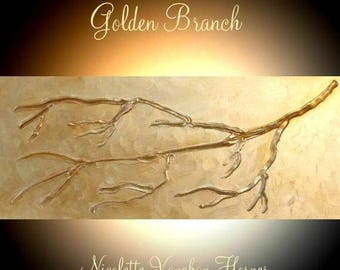 "Original  abstract contemporary fine art ""Golden Branch"" textured impasto painting by Nicolette Vaughan Horner"