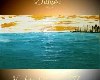 "XLarge Aqua,Gold,White Oil Landscape Abstract Original 48"" palette knife  impasto oil painting by Nicolette Vaughan Horner"