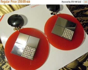 Now On Sale Big Bold Vintage Red Rhinestone Earrings 1980's New Old Stock Rockabilly Accessory Paris France Jewelry Viva Las Vegas Glamour G