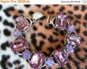On Sale Vintage Purple Rhinestone Bracelet 1950's 1960's Collectible Lavender Moon Stone Mad Men Mod Hollywood Regency Rockabilly Jewelry