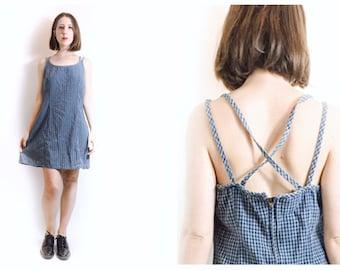 90s Denim Plaid Criss Cross Back Medium Mini Dress