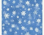15% off thru 2/22 QUIET BUNNY Noisy PUPPY~snow snowflakes on medium blue cotton print by the 1/2 yard Wilmington fabric-71631-441- winter, C