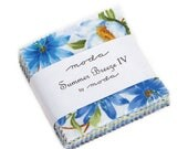 "15% off thru 2/22 Mini Charm pack SUMMER BREEZE IV from Sentimental Studios 42 2.5"" squares Moda cotton fabric blue yellow white floral 3328"
