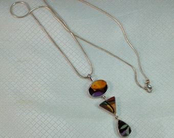 Navajo Irene Skeets Southwestern Sterling Shell Inlay Pendant and Sterling Chain