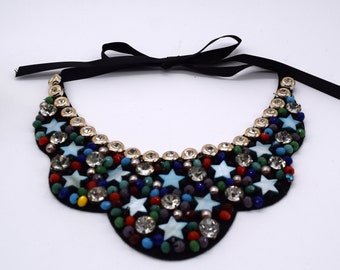 Handmade cute colorful star bead rhinestone Collar Necklace