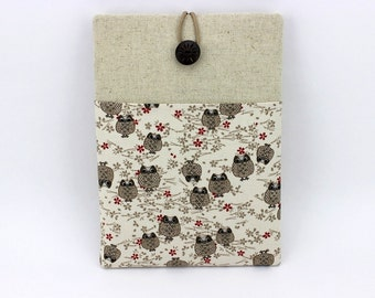 iPad Pro Sleeve, Gadget Cover, Kimono Tablet Sleeve, Owls White