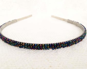 Metallic Peacock (Blue Purple Green) Beaded Headband Tiara - Alice Hair Band (Limited Edition Color)