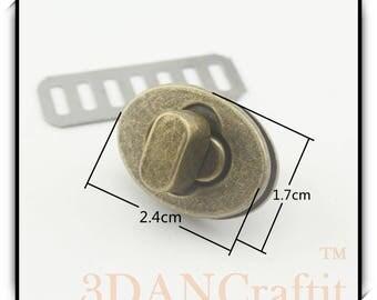 5 color to choose Purse Twist lock turn lock  Light Gold / gunmetal / nickel / Anti bronze / Vintage brass 2.4cm x 1.7cm