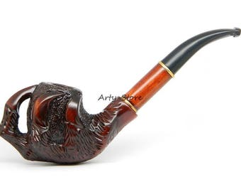 Tobacco Smoking pipe  - Dragon's Claw -  Carved of Pear Wood (9mm filter)  +  Gift Pouch