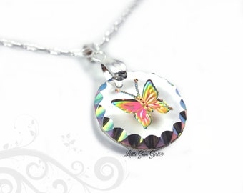 Butterfly Necklace - Rainbow Butterfly Pendant - 18mm Engraved Butterfly Charm - Etched Glass with Butterfly Sterling Silver Chain Option