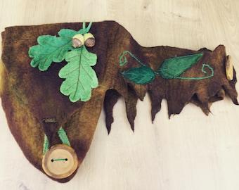 Woodland hip bag-hip pouch- utility belt-festival belt bag- elven belt- belt bag- festival pocket bag- hip bag-leaf bag - leaf pouch
