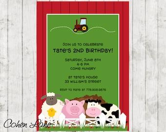 Farm Animals Birthday Invitation.  Farm Birthday Party Invitation.  Red Barn Invite.  Farm Party Invite.  Tractor invitation.