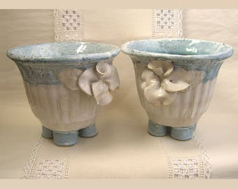 Flower Pot, Handbuilt Stoneware Pottery Planter, Cache Pot, Blue & White Vase, Porcelain Flowers, Garden Pot, Utensil Holder