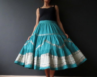 Vintage 50s 60s Turquoise Silver Cheese Cloth Swing Skirt Medium