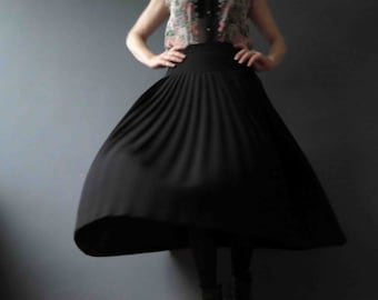 80s Black Mirco Pleated Skirt Wool Crepe Size Small