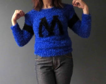 90s Furry Cobalt Blue Cookie Monster Jumper Sweater Monogram M Small Vegan Acrylic
