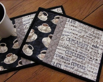 Quilted Mug Rugs Coffee Cup Fabric with Cute Cupcake Fabric in Pretty Black/Cream Fabric French Country Coffee Placemat Set of Two Mug Mats