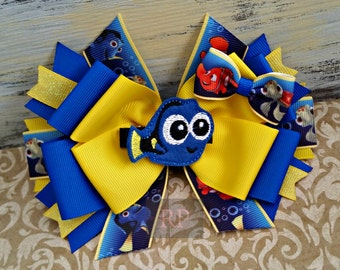 Stacked Boutique Finding Nemo Hairbow with Baby Dory or Nemo Felt Center- Under the Sea Dory ComicCon Hair Clip -HandSewn Bow - Cosplay- RTS