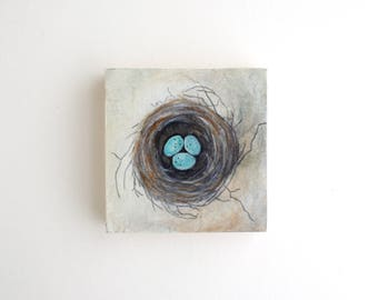 Birds Nest Mixed Media Painting - 3 x 3