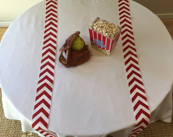 Baseball Party Themed Red and White Chevron Table Runners Set Of 2 Strips - SELECT A SIZE - READY To Ship