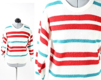 Vintage Retro Blue and Red Colored Striped Knit Sweater