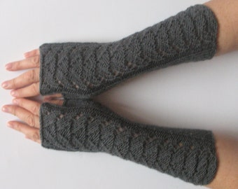 "Long Fingerless Gloves Dark Gray 11"" Arm Warmers Mittens Soft Acrylic Wool"