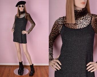 90s Metallic Mini Dress/ Small/ 1990s/ Tank/ Sleeveless