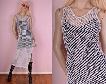 90s White Mesh Dress/ Small/ 1990s/ Tank/ Sleeveless