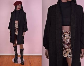 80s Black Popcorn Knit Cardigan/ Large/ 1980s