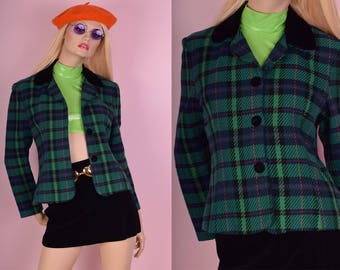 90s Plaid Blazer/ Medium/ 1990s/ Velvet Trim/ Jacket