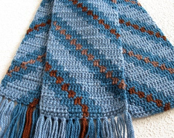 Blue Striped Scarf.  Blue and brown crochet scarf with diagonal stripes.