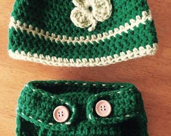 Crocheted Irish Hat And Diaper Cover Set