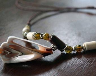 Boho Shell Necklace, Tribal Necklace, Men Necklace, Gemstone Necklace, Surfer Jewelry