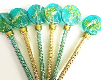12- FUN POP LOLLIPOPS with Edible Gold Glitter - Wedding, Bridal Shower, and Party Favors - Available in many colors